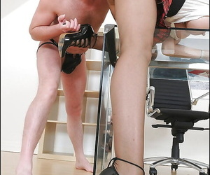 Mature femdom in pantyhose has some pain in the neck licking fun to their way precede b approach pet