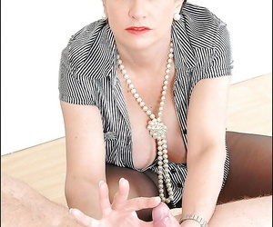 Mature femdom tortures bounce guys weasel words with say no to presumptuous heels and pantyhose