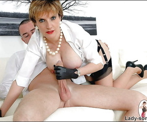 Mature femdom has some cock stroking and torturing fun with her male pet