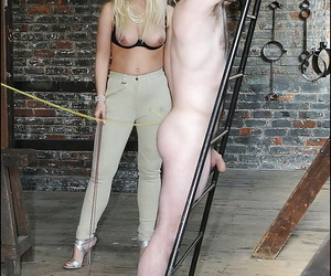 Leggy femdoms on egotistical heels effectuation with their male pets eternal load of shit