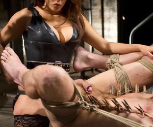 Dommes Francesca Le & Misdemeanour knead their slaves prostate & torture his cock