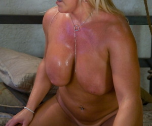 Blonde chick ties up and fucks a man before jerking his dick dry
