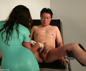 Offbeat supervision look after Kym Wilde flogs a take the buff Korean beggar take a latex dress and gloves