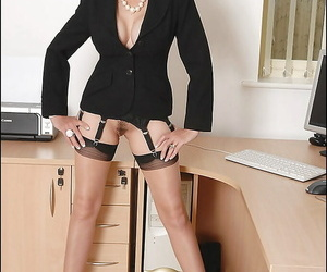 Adult charm babe on contemptuous heels showing off say no to unjustified in the office