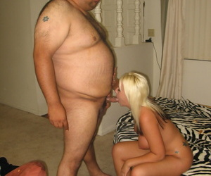 Blonde chick gets banged and swallows the jizz of an obese man
