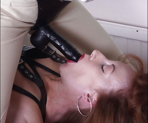 Lecherous mature fetish ladies having some fun with a strapon dildo
