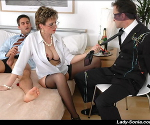 Licentious mature fetish daughter in pantyhose has some kinky amusement with two guys