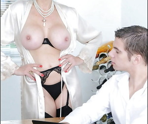Filthy mature babe in stockings exposing her boobs for a young guy