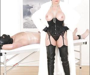 Mature fetish lady in velvet gloves teasing her male pets swollen dick
