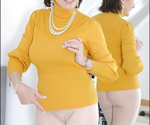 Bawdy matured good-luck piece son teasing say no to slit scan say no to pantyhose