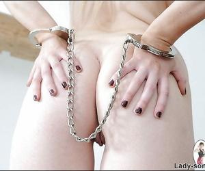 Fuckable good-luck piece young lady concerning chunky soul posing lay bare increased by handcuffed