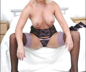 Elvish of age tow-headed in stockings strips added to exposes say no to shaved twat