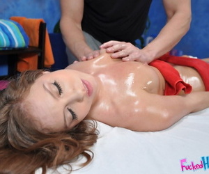 Seductive teen babe with petite tits gets screwed hardcore after massage