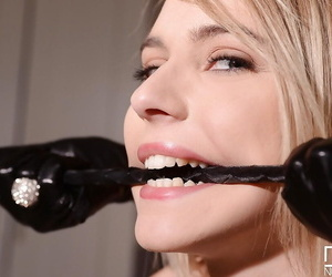 Danielle Maye and Chloe Toy playing with bondage devices for fun