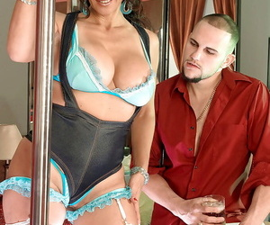 Busty mature babe in fishnet stockings Persia Monir gets laid in the strip club