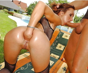 Naughty MILF Angela Winters gets fisting and ass fucking outdoor
