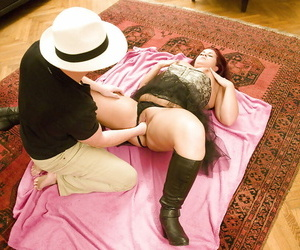 Unprofessional redheaded well-to-do giving blowjob in the lead having shaved pussy fisted