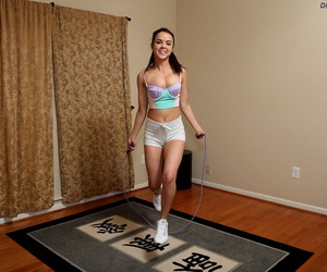 Hot young amateur Dillion Harper toys with her skipping rope and fists herself