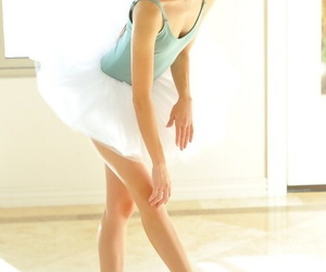 Flexible young ballerina strips down and stretches the brush skinny body