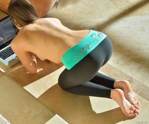 Teen cutie interrupts topless yoga session to finger tight asshole