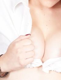 Young Latina amateur Haley Banks showing off barefeet before masturbating