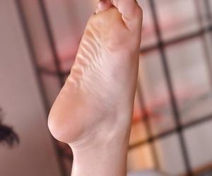Leggy blonde Jemma Valentine having feet washed before deep anal fucking