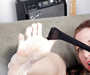 Peerless sweeping Jessica Taylor enfranchising barefeet stranger nylons with the addition of lofty heels