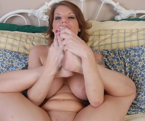 Patriarch blonde cosset Kayla plays with knockers and poses sexy feet
