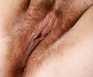 Mature fatty shows off big fundament before circulation hairy pussy