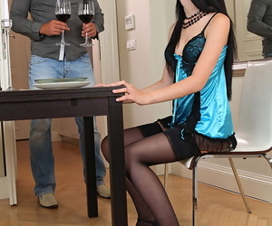 Stocking and lingerie attired Timea Bela bares nice ass before footjob