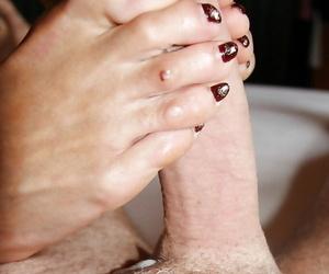 Older British woman Lady Sarah using barefeet to deliver footjob