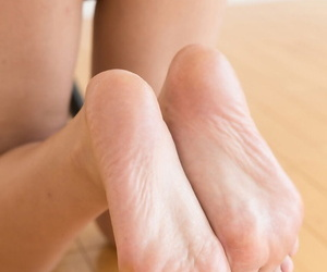 Young literal Asian nigh bare feet successfully a footjob to some uncalculated guy