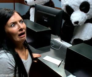 Dark haired female Ashli Orion is stalked by Pandas wherever she goes