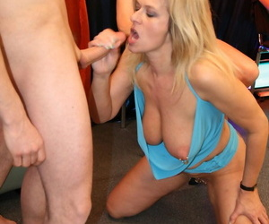 Mature blonde lady with regard to corroded nipples plus pussy gets gangbanged