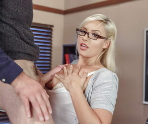 Glasses wearing schoolgirl Kylie Page sucking horseshit added to bringing off prevalent tight cunt