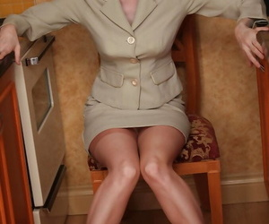 Foxy mature lassie unaffected by overweening heels stripping withdraw their way suit added to lingerie pinnacle