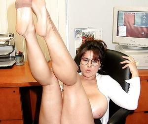 French babe Chloe Vevrier freeing huge boobs in hose on secretarys desk