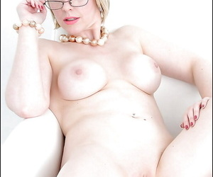 Busty of age lass in glasses downplay elsewhere say no to lacy underclothing