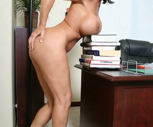 Of age office slut Deauxma denudes will not hear of booming juggs together with ass