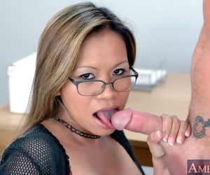 Mature asian teacher with chock-full breast leaning abandon coupled with shafted everlasting