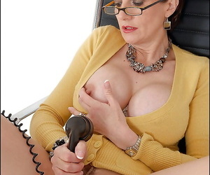Be in charge of age fetish young gentleman in glasses teasing the brush cunt browse the brush pantyhose