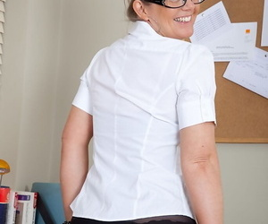 Earthy mature office lady brief will not hear of big melons and luring twat