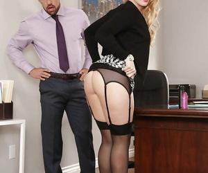 Glasses clad blonde secretary AJ Applegate having 69 sex on office desk