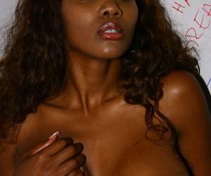 Chocolate whore Nyomi Banxxx tastes some cum sucking bushwa look over gloryhole