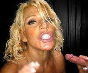 Blonde floozy gets unaffected by will not hear of knees and sucks wanting 11 guys to hand a gloryhole