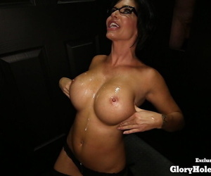 Busty feminine Shay Slyboots gets in the first place will not hear of knees nearby drag inflate many a time of dicks at a gloryhole