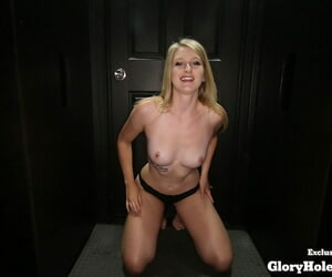 White floozy Summer swallows the jizz be expeditious for 17 men not later than a gloryhole visit