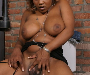 Busty black chick Vida Valantine goes 1 on 1 at a bathroom gloryhole
