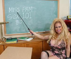 Chesty doyen inclusive Pamela unleashing huge hooters nearly classroom