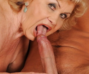 Big busted granny gives a blowjob increased by gets her clotted cunt banged
